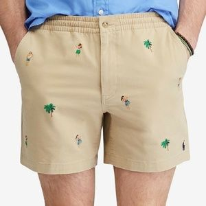 NEW Embroidered Hawaiian Hula Girl Khaki Shorts